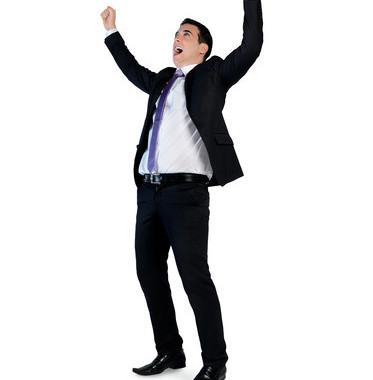 Isolated Business Man Hands Up Winner